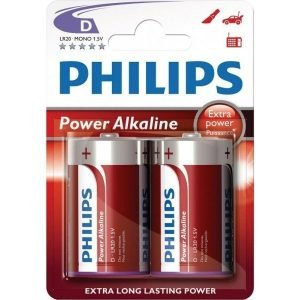 PHILIPS POWER ALKALINE LR20 / D / MONO BATTERY 2-BLISTERPACK